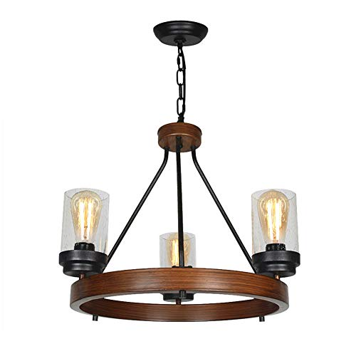 Baiwaiz Round Rustic Chandelier, Metal Farmhouse Pendant Lighting with Clear Seeded Glass Shade 3 Lights Edison E26 079 Review
