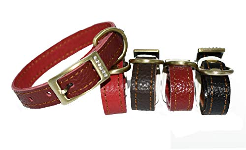 Novenco Genuine Soft Leather Dog Collar Cat Collar Padded with Leather, Adjustable for Baby and Small Dogs and Cats (7