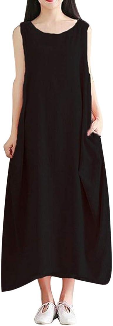 Sylar Vestidos Mujer Casual Largos Verano Vestidos Playa Mujer Sin Manga Vestido De Algodón Color Sólido Vestidos De Fiesta Mujer Tallas Grandes De Maxi Vestidos Boho De Playa Vestido De Casa: Amazon.es: