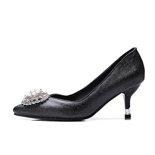 Zapatos Primavera y Talón Astilleros de Pearl Otoño Alto Durante black Zapatos Tacón de Grandes el Zapatos de la Mujer PXIvq