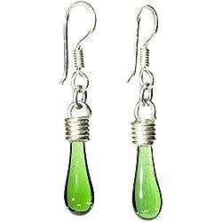 Joyería para mujer - Arete de plata y vidrio brillante tipo gotita Heineken