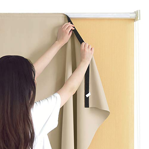 RYB HOME Sun Blocking Curtain Blind Cordless Window Shades Liner for Indoor Outdoor Use Without Curtain Rod, with Bouns Sticky Strap for Easy Installation, Width 6ft by Length 6ft, Cream Beige