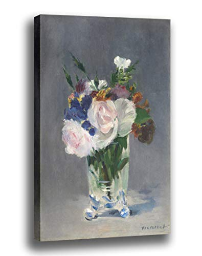 Canvas Print Wall Art - Flowers in a Crystal Vase - by Edouard Manet - Gallery Wrapped - 13x17 inch ()