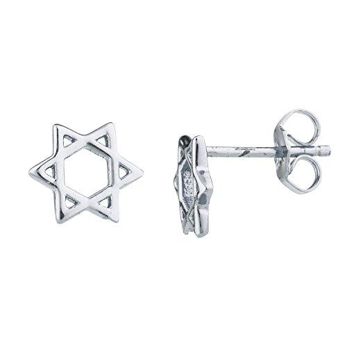 Lux Accessories Silver Tone Star Of David Jewish Mini Cutout Star Stud Earrings