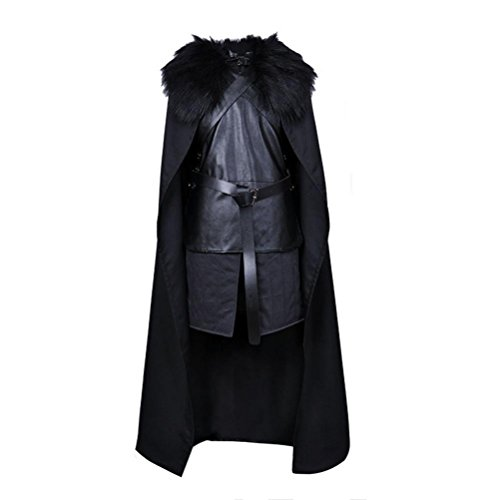 LOUSHI Halloween Men GoT Jon Snow Cosplay Costume Halloween Party Set (L, Black) - Halloween Costumes Jon Snow