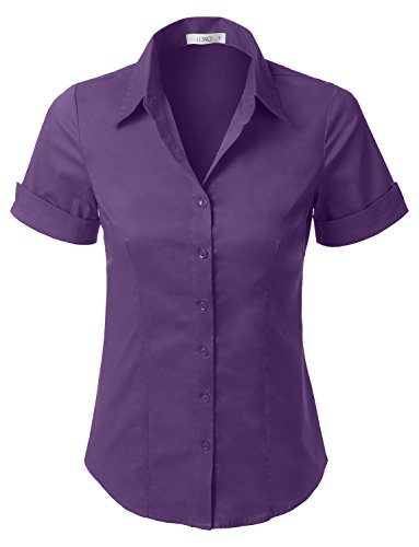 LE3NO Womens Tailored Short Sleeve Button Down Shirt With Stretch,L3nwt575_purple,Large