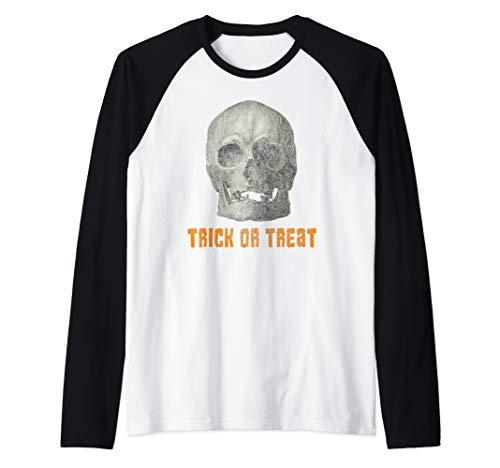 Easy Guy Halloween Costumes College (Real Skull Halloween Trick Or Treat Costume Funny Skeleton Raglan Baseball)