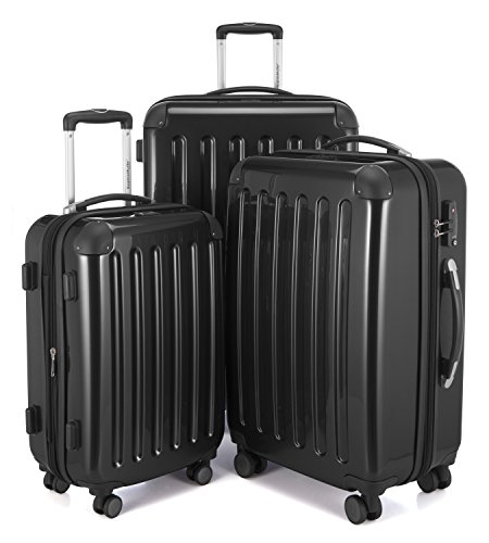 HAUPTSTADTKOFFER Luggages Sets Glossy Suitcase Sets Hardside Spinner Trolley Expandable (20', 24' & 28') TSA (Alex Black)