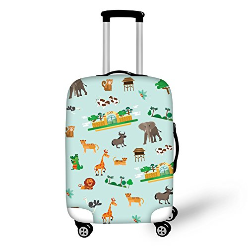 FOR U DESIGNS 22-25 inch Luggage Cover for Suitcase Cute Animal Print Green