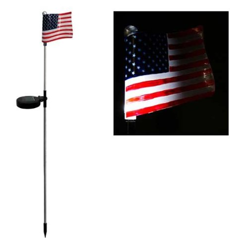 Solar USA Flag Garden Stake (Set of 16) (Stone Light Stepping Solar)