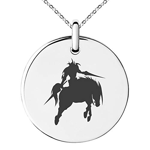 - Tioneer Yu-Gi-Oh! Gaia The Fierce Knight Silhouette Stainless Steel Small Medallion Circle Charm Pendant Necklace