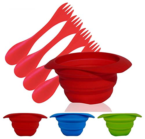 AVALEISURE Collapsible Bowl Set - 25 fl.oz/750ml - for Camping, RV, Backpacking, Travel - Space-Saving Dog Food & Water Bowl - 1 red Bowl with 4 red Sporks ()