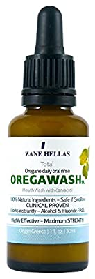 OREGAWASH. Total MOUTHWASH. Daily Oral Rinse. 1 fl. Oz. - 30ml. Helps on Gingivitis, Plaque, Dry Mouth, Bad Breath & Throat infection. Gives Fresh Breath. Natural Antibacterial & Antiseptic Mouthwash.