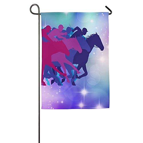 HUVATT Horse Racing Garden Flag Indoor & Outdoor Decorative Flags for Parade Sports Game Family Party Wall Banner 28 x 40 inch ()