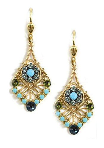 Clara Beau Mulitcolor Swarovski Mosaic crystal Deco GoldTone Drop earrings EG81