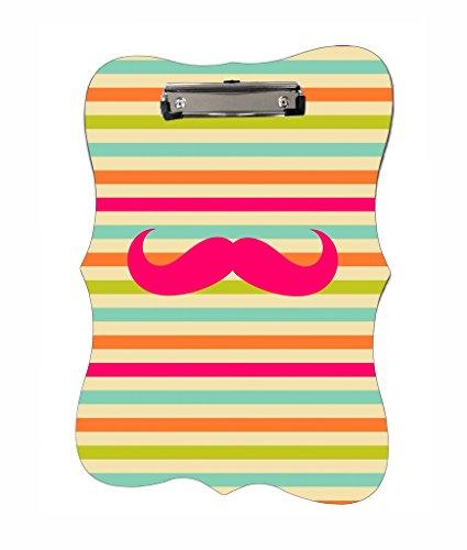 Pink Mustache On Stripes - Jacks Outlet TM - Benelux Shape 2-Sided Hardboard Clipboard ()