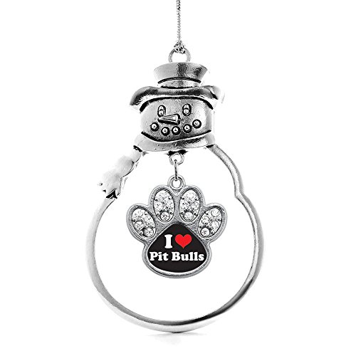 (Inspired Silver I Love Pit Bulls Pave Paw Charm Snowman Holiday Christmas Tree Ornament)