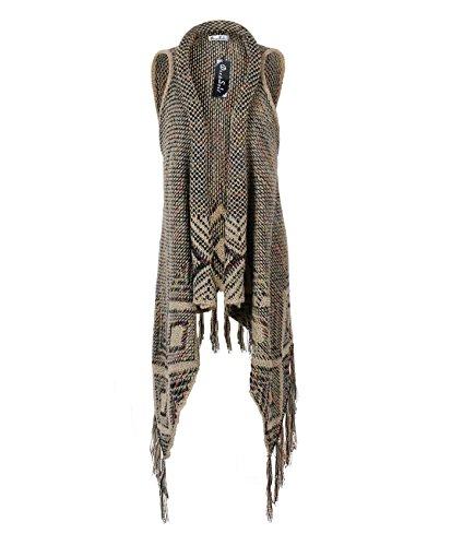 DRESSOLE Women Sleeveless Sweater Coat Wool Tassels Cardigan COLOR M/L