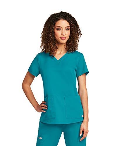 Grey's Anatomy Women's Two Pocket V-Neck Scrub Top with Shirring Back, White, Medium