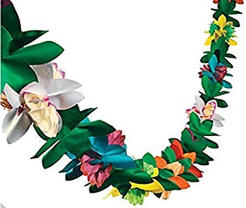 [Tissue Flower Garland by Fun Express (1-Pack)] (Luau Party Supplies)