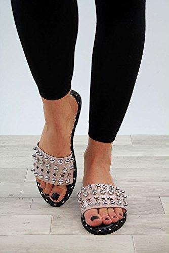Zapatos Studded Womens Sandals Low Fashion Heel Larena Mule Peep 8 cómodos Holiday Beige 3 Tamaños New Toe XwPqR