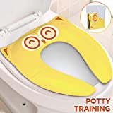 Gimars Upgrade Folding Large Non Slip Silicone Pads Travel Portable Reusable Toilet Potty Training Seat Covers Liners with Carry Bag for Babies, Toddlers and Kids, Yellow