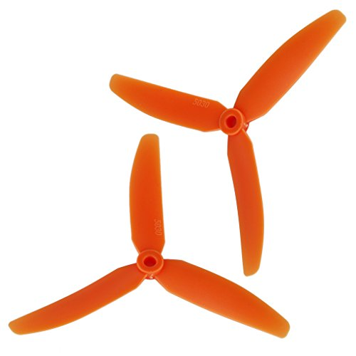 FLOUREON® 2 Pairs 3-Leaf CW CCW Propeller Props 5x3 5030 for QAV250 Frame Kit RC Plane Multicopter Quadcopter Orange