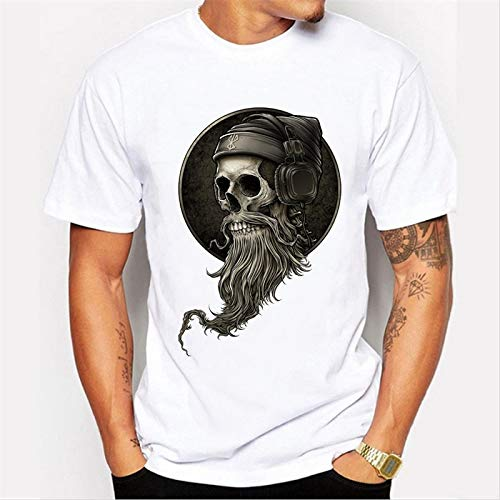 Hylong Men's Punk Style Vintage Pirate Skull Printed t-Shirt Hipster Design Customized Tops for Male Funny tees (White,XXXL)