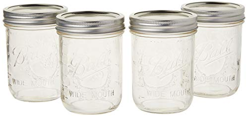 Ball Mason Jar Pint Wide Mouth Clear Glass W/Lids and Bands, 16-Ounces (Set of 4)