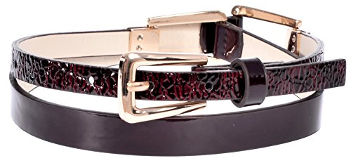 Sunny Belt Women's Super Skinny Reptile Design Fashion Jean Belt with Gold Buckle Wine Large