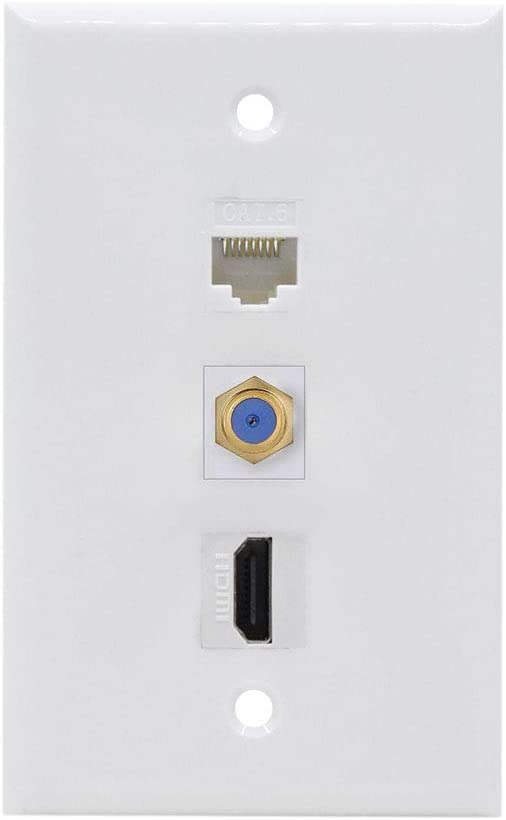 1RJ45 Cat5e Coupler /& 1 F Connector Monoprice Recessed HDMI Wall Plate Gold Plated with 1 HDMI F//F Adapter
