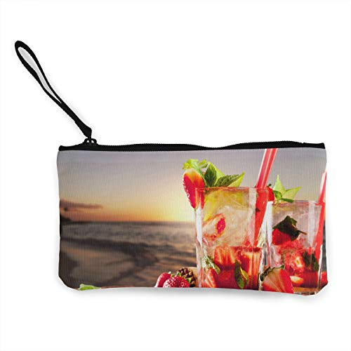 Oomato Canvas Coin Purse Beach Cocktails Cosmetic Makeup Storage Wallet Clutch Purse Pencil Bag ()