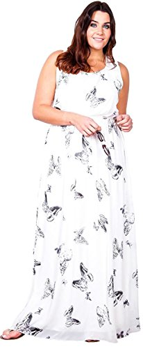 Ladies Lined New L 2XL Maxi Scoop Going Chiffon Out Long Gorgeous butterfly White Dress Neck Chocolate Pickle qEHYxF