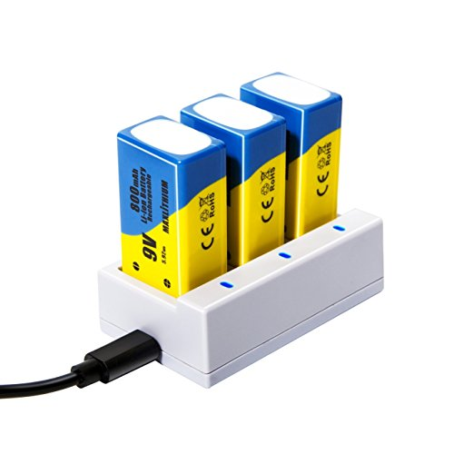 9v Batteries Rechargeable Li-ion 800mAh 3 Packs with Quick ()