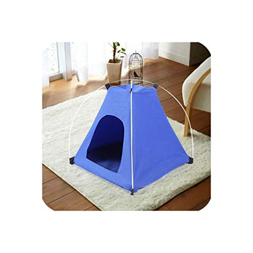 Cat Dog House Summer Dogs Tent Bed Indoor Outdoor Soft Kennel Doggy Beds Cushion Mat Washable Pet Cave Cats Cage casa para perro,Blue,42x42x40cm