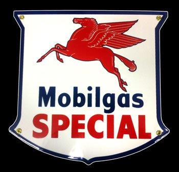 Mobil Gas Special Die Cut Porcelain Sign