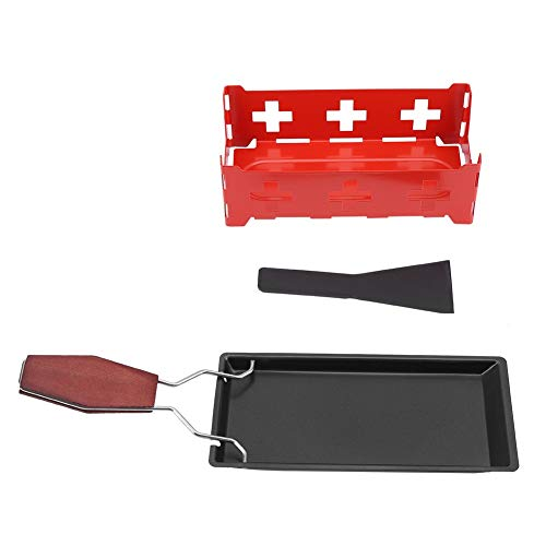 VIFERR Cheese Raclette, Non-Stick Carbon Steel Cheese Raclette Rotaster Baking Portable Tray Stove Set Home Kitchen Grilling Tool