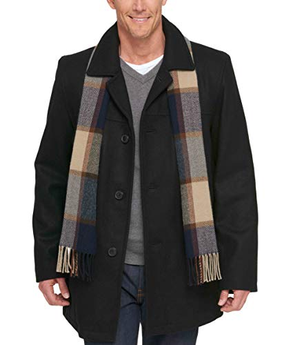 (Tommy Hilfiger Men's Size Tall Wool Melton Walking Coat with Detachable Scarf, Black, 3X)