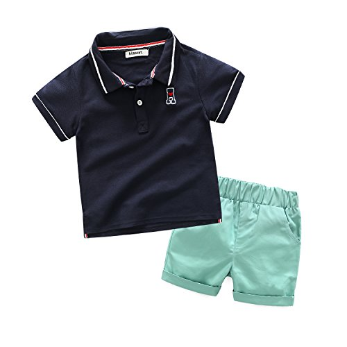 Boys' 2Pcs Pique Polo Shirt Sets Cotton Pullover with Short Pants Sports Outfits