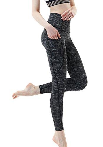 TSLA Women's Mid/High-Waist Tummy Control w Hidden/Side Pocket Yoga Pants