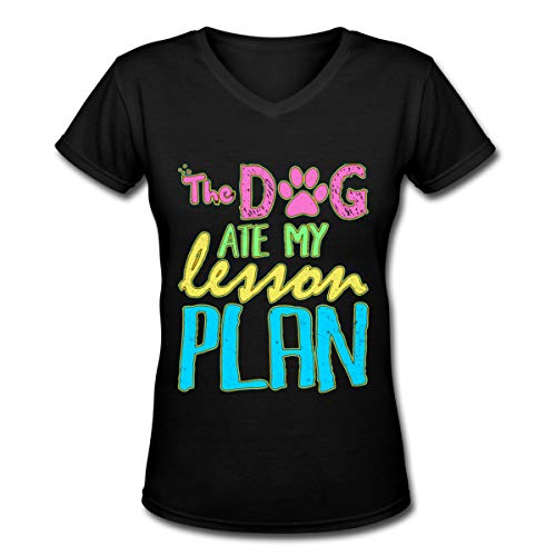Jusxout The Dog Ate My Lesson Plan Women's V-Neck Short Sleeve T-Shirts Black