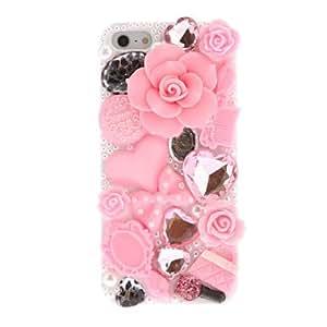 HP-Flowers Rhinestone cubierta de la caja + del estilo del corazón dura para el iPhone 5/5S