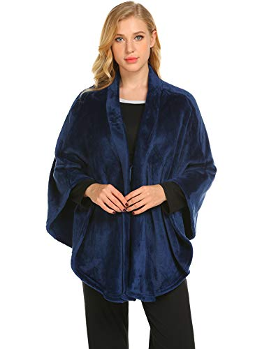 Ekouaer Women's Wrap Shawl Winter Cape Cashmere Scarf Fleece Poncho Soft Blanket Plus Size