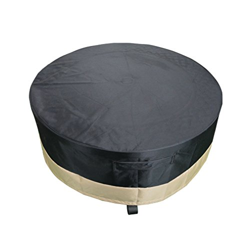 Stanbroil Outdoor Full Coverage Round Fire Pit and Kettle Cover - 100% Weather Resistant and Waterproof, Black, 44
