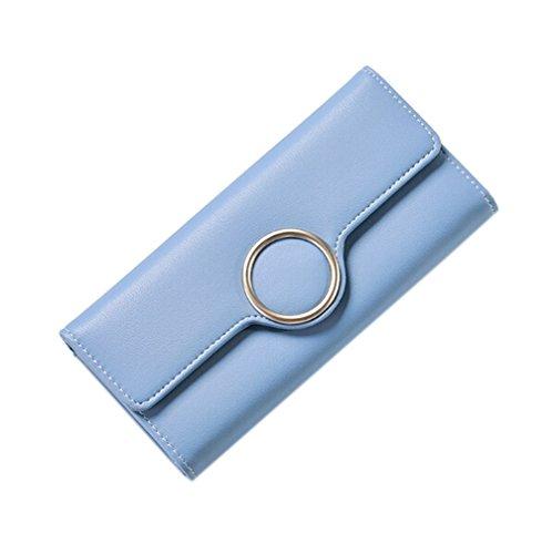 GGTFA Frauen PU-Leder Dreifachem Wallet Geld Geldbörse card Case Halter Organizer Blau