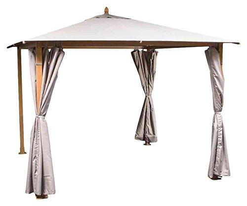 Siena Garden 120341 Pavillon Liguria, 3 x 3 m Aluminium-Gestell Holz-Optik Dach 310 g/m² taupe, PU-beschichtet Seitenteile Polyester 180 g/m², natur