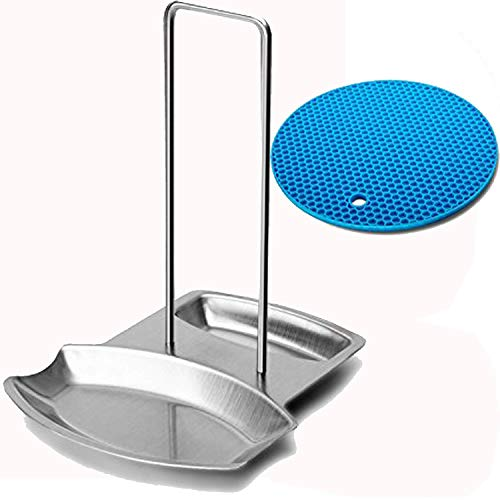 Cockgoo Lid Holder Spoon Rest for Stove Top, Pot Pan Lid Stand for Kitchen Stainless Steel Silver with Anti-slip Silicone Pads and Round Mat