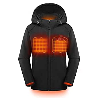 ORORO Women's Slim Fit Heated Jacket with Detachable Hood and Battery Pack, S