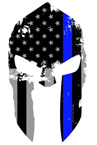 Tattered-5x4-Inch-Subdued-Us-Flag-Molon-Labe-Spartan-Helmet-Reflective-Decal-with-Thin-Blue-Line