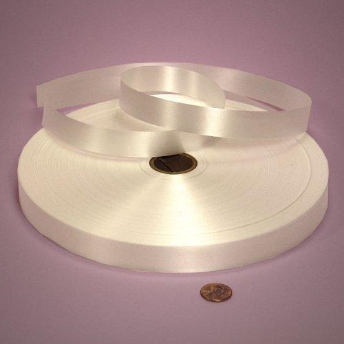 Polypropylene Ribbon - White Poly Satin Ribbon, 3/4